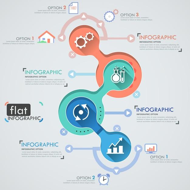 Conception Infographique Plat Avec Des Icônes Pour 4 Options Vecteur Premium
