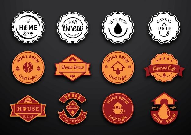 Conception d'insigne de café maison Vecteur Premium