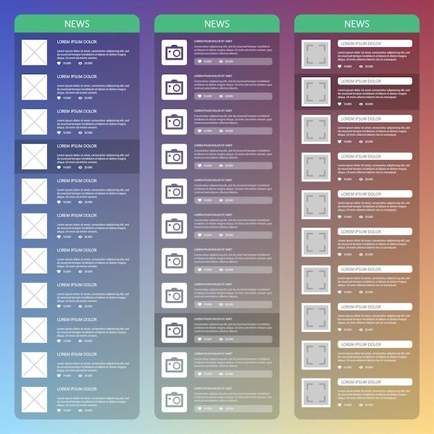 Conception D'interface Utilisateur Mobile Plat. Page De Nouvelles. Vecteur Premium