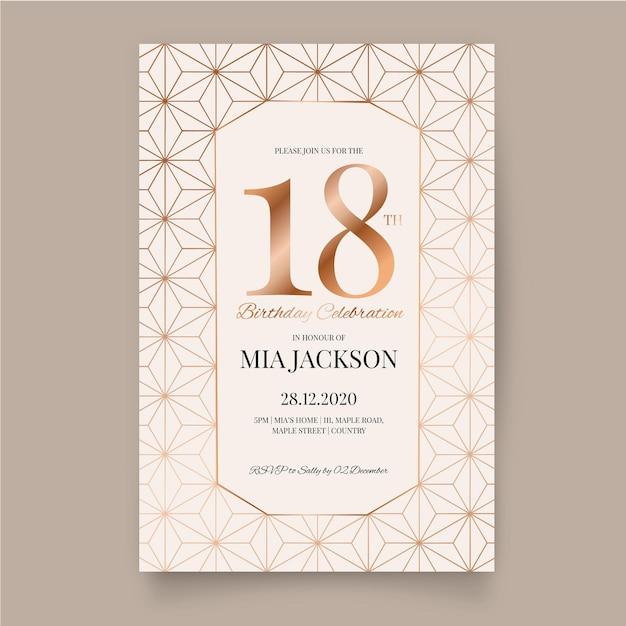 Conception D'invitation D'anniversaire élégante Vecteur gratuit