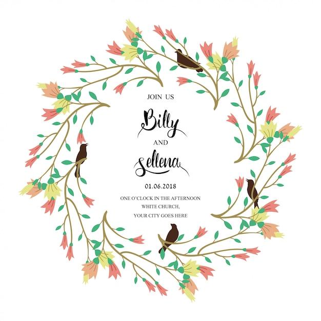 Conception d'invitation avec un cadre floral Vecteur Premium