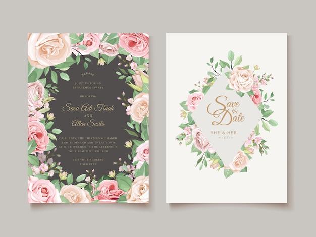 Conception D'invitation Avec Couronne Florale Vecteur gratuit