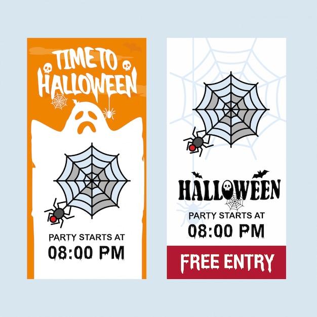 Conception d'invitation halloween heureuse avec le vecteur d'araignée Vecteur gratuit