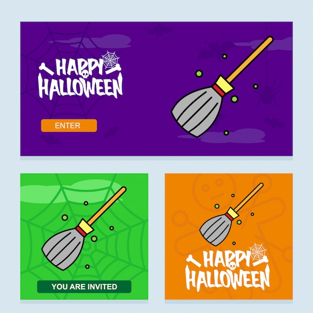 Conception d'invitation halloween heureuse avec le vecteur de balai Vecteur gratuit