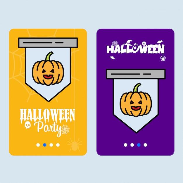 Conception d'invitation halloween heureuse avec vecteur de citrouille Vecteur gratuit