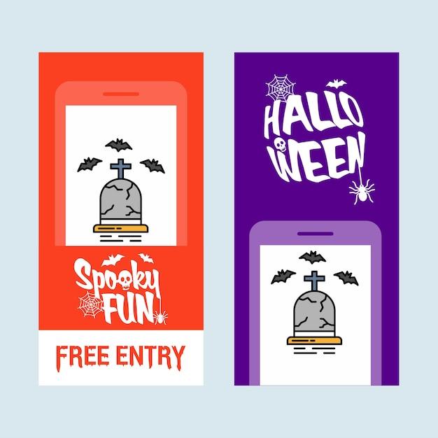 Conception d'invitation halloween heureuse avec le vecteur de la tombe Vecteur gratuit