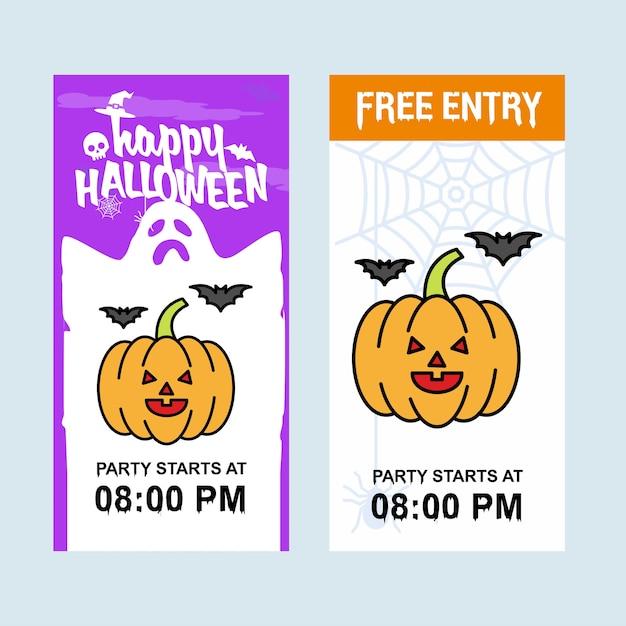 Conception d'invitation happy halloween avec vecteur de citrouille Vecteur gratuit