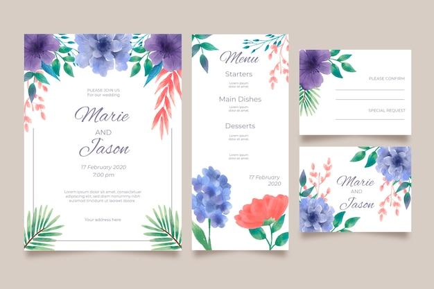 Conception D'invitation De Mariage Floral Vecteur gratuit