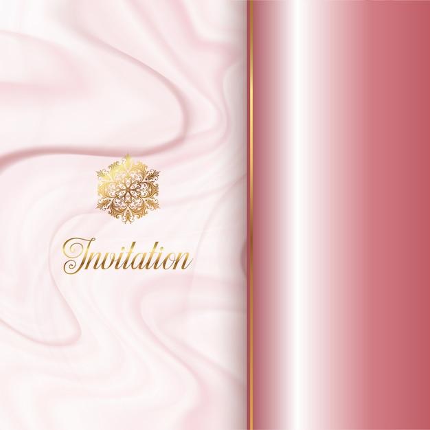 Conception d'invitation avec une texture de marbre rose Vecteur gratuit