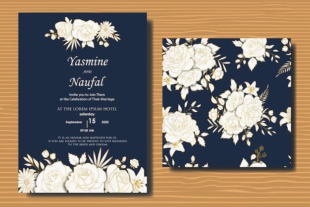Conception Des Invitations De Mariage Floral Dessiné à La Main Vecteur Premium