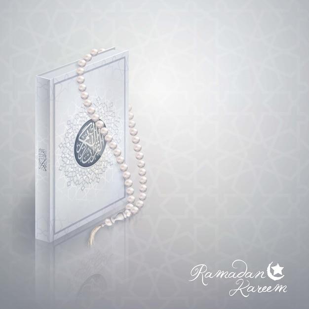 Conception islamique ramadan kareem voeux Vecteur Premium