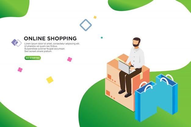 Conception isométrique des achats en ligne Vecteur Premium