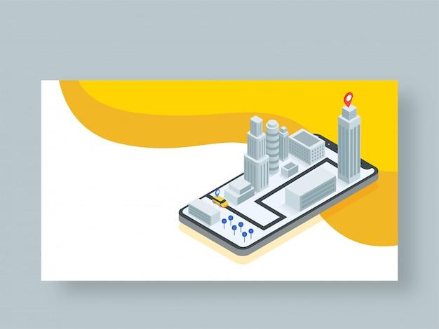 Conception Isométrique De L'application De Service De Taxi En Ligne. Vecteur Premium