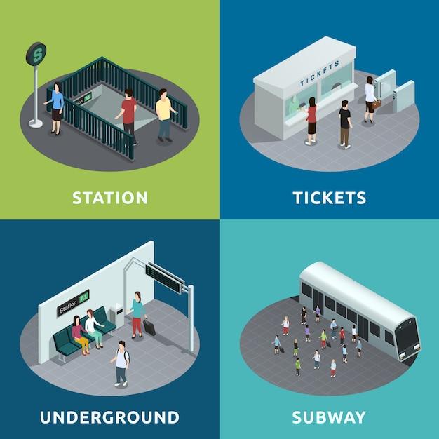 Conception isométrique du métro Vecteur gratuit