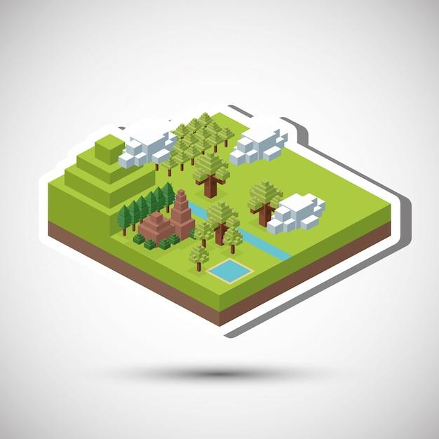 Conception Isométrique. La Nature. Eco Concept, Illustration Vectorielle Vecteur Premium