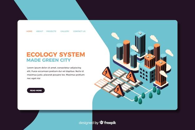 Conception isométrique de la page de destination de l'écologie Vecteur gratuit