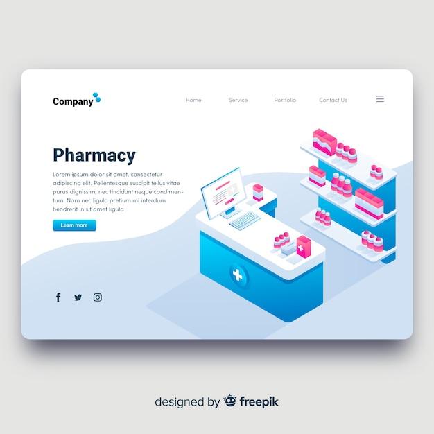 Conception isométrique de la page de destination de la pharmacie Vecteur gratuit