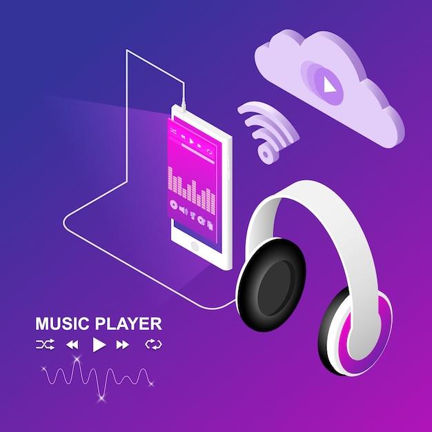 Conception isométrique des téléphones intelligents et des écouteurs Vecteur Premium