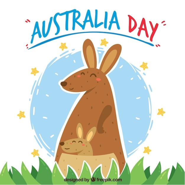 Conception De Jour De L'australie Avec Des Kangourous Mignons Vecteur gratuit