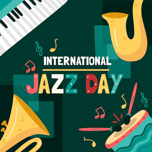 Conception De La Journée Internationale Du Jazz Dessinée à La Main Vecteur gratuit