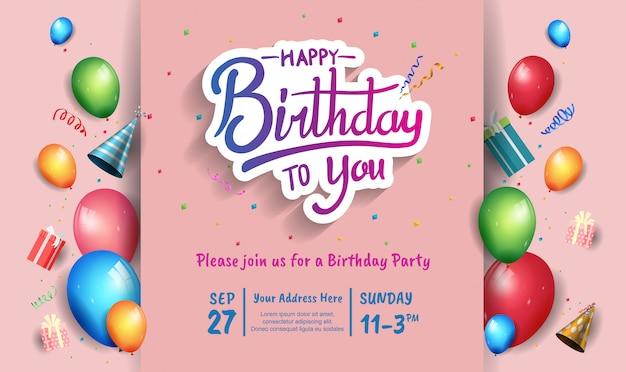 Conception de joyeux anniversaire pour bannière, affiche, carte d'invitation avec élément d'anniversaire coloré Vecteur Premium