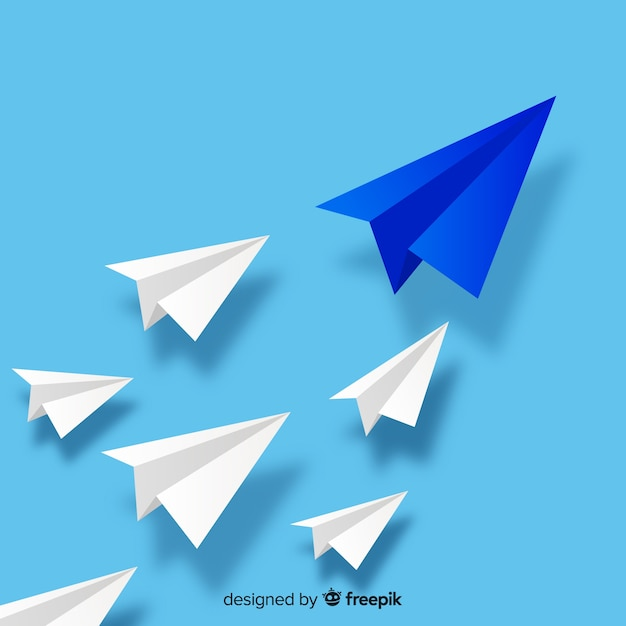 Conception de leadership avec des avions en papier Vecteur gratuit