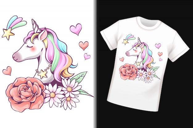 Conception De Licorne Sur T-shirt Vecteur Premium