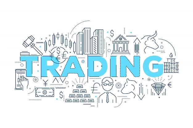 Conception Linéaire De Trading Vecteur gratuit