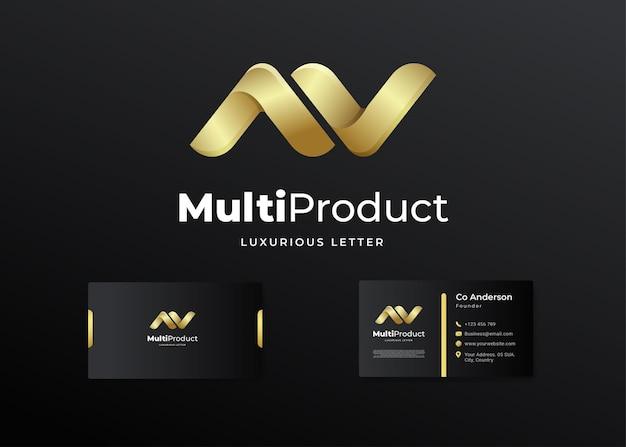Conception De Logo Av Initial De Lettre De Luxe Premium Et Carte De Visite Vecteur Premium