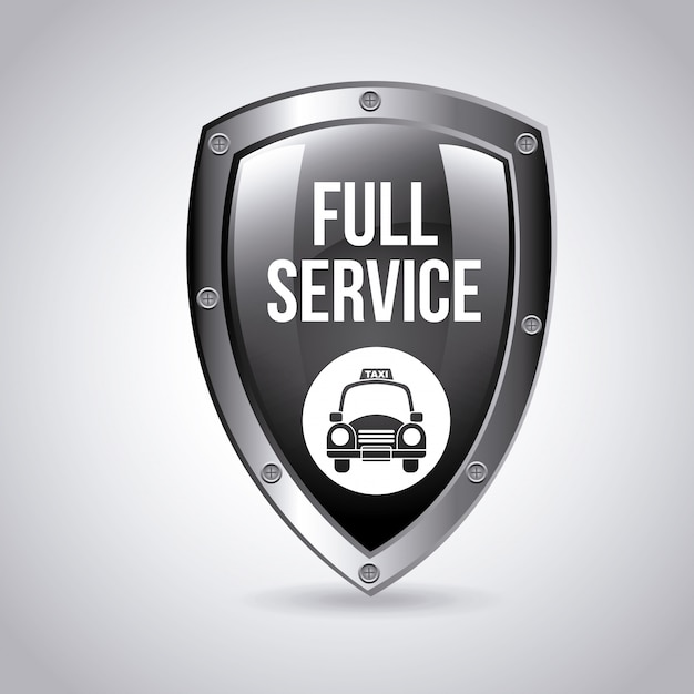 Conception de logo de bouclier de service de taxi Vecteur gratuit