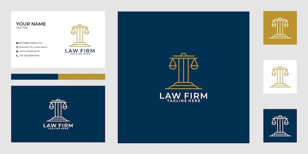 Conception De Logo Et Carte De Visite De Cabinet D'avocats Vecteur Premium