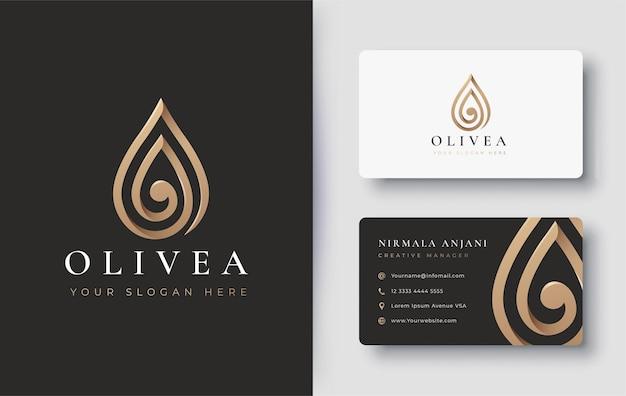 Conception De Logo Et Carte De Visite Goutte D'eau Or / Huile D'olive Vecteur Premium