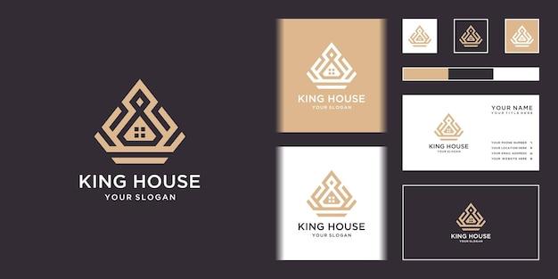 Conception De Logo Et Carte De Visite King House Vecteur Premium