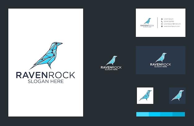 Conception De Logo Et Carte De Visite Raven Rock Vecteur Premium