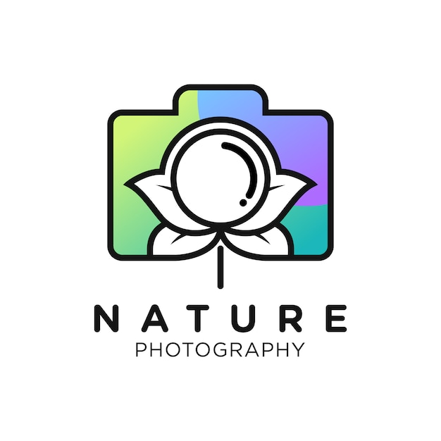 Conception De Logo De Dégradé Simple De Photographie De Nature Vecteur Premium