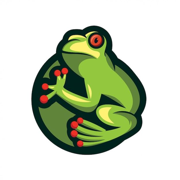 Conception de logo grenouille Vecteur Premium