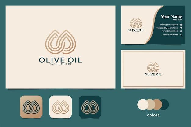 Conception De Logo D'huile D'olive De Luxe Et Carte De Visite Vecteur Premium