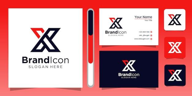 Conception De Logo Lettre X Et Carte De Visite Vecteur Premium