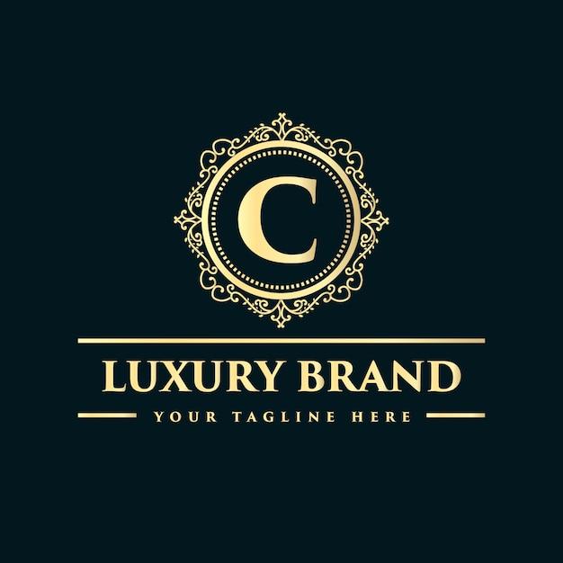 Conception De Logo De Luxe De Style Vintage Antique Monogramme Dessiné Main Floral Calligraphique Doré Vecteur Premium