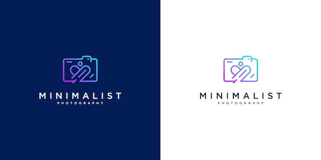 Conception De Logo Minimaliste Aime La Photographie. Conception De Style De Ligne, Appareil Photo, Objectif Et Mise Au Point. Vecteur Premium