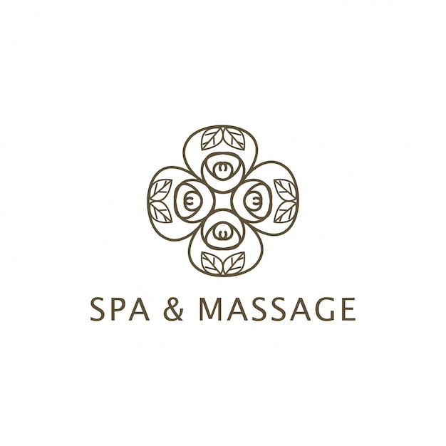 Conception de logo spa et massage Vecteur Premium