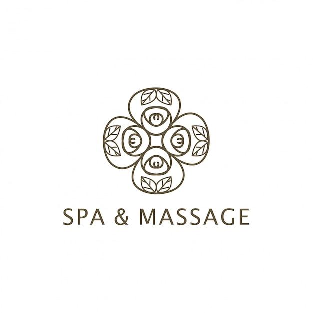 Conception de logo spa et massage Vecteur Premium