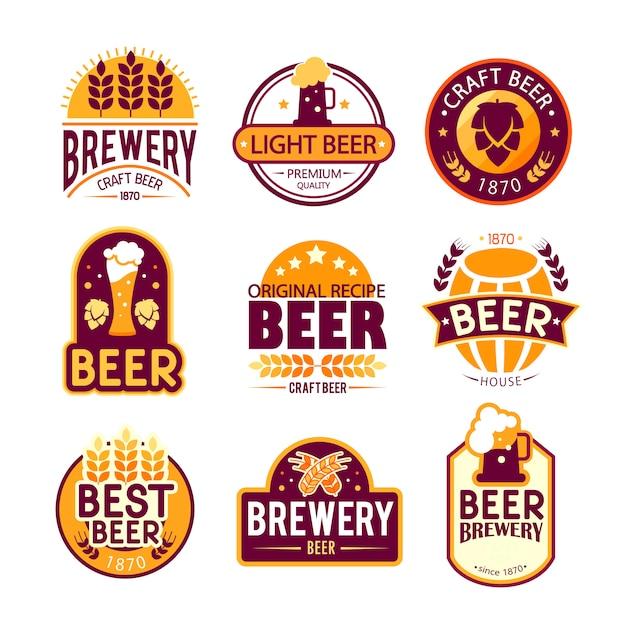 Conception de logos et emblèmes de brasserie. Vecteur gratuit