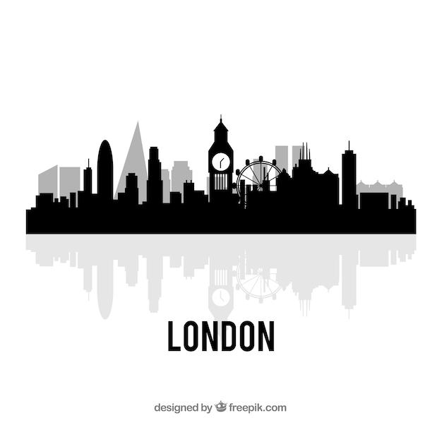 Conception De Londres Noir Skyline Vecteur gratuit