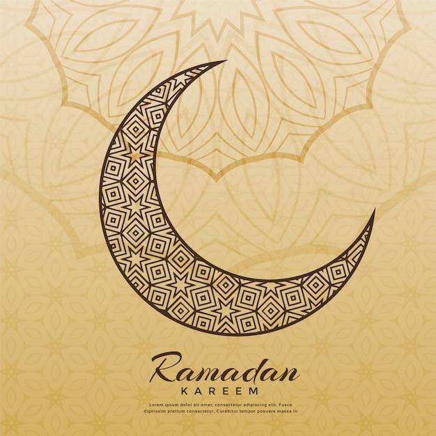 Conception de la lune islamique pour la saison ramadan kareem Vecteur gratuit