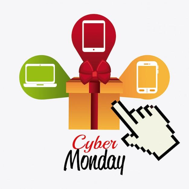 Conception de magasinage cyber lundi. Vecteur gratuit