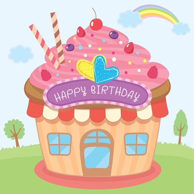 Conception de la maison cupcake pour carte d'anniversaire Vecteur Premium