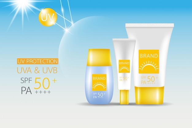 Conception de la maquette du produit. crème solaire spf 50. Vecteur Premium