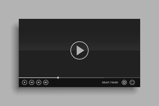 Conception De Maquette De Lecteur Vidéo Noir De Médias Sociaux Vecteur gratuit