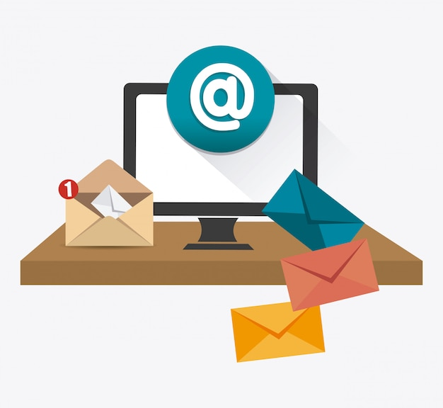 Conception de marketing par courriel. Vecteur Premium
